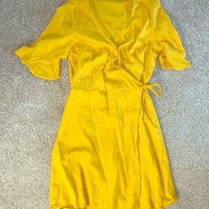 vintage mustard yellow wrap dress